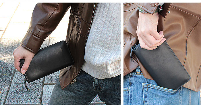 革ジャンやデニムジーンズにも似合う長財布