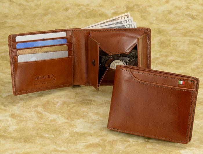 6862ad2fe202 財布 メンズ 二つ折り メンズ財布イタリアンレザー ヌメ革 ミラグロ【カタログ掲載】